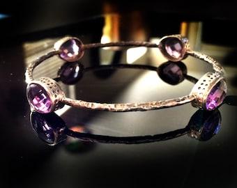 Stacking bangles,Fine Jewelry,Amethyst Bangle bracelet,Silver bangle- Gemstone Bracelets - Gemstone Bangles - Bezel Set Bangles by  TANEESI