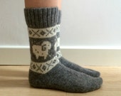READY TO SHIP Grey Wool Socks White Ram Sheep Aries Christmas Winter Fair isle Scandinavian Nordic Norwegian