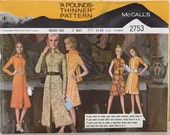 "Vintage McCall's 1970's dress pattern # 2753 a pound  thinner pattern size 8 bust 31 1/2"" slimming pattern"
