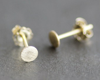 14K Solid Gold 4mm Disc/Circle Earrings - Post /Stud Earrings - Matte / Brushed