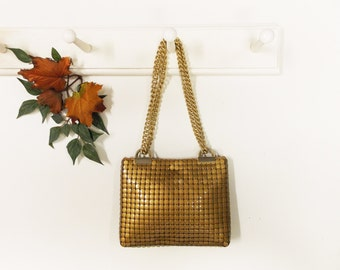 Vintage Whiting & Davis Co. Gold-Tone Mesh Bag-- Gold Color Metal Mesh Evening Bag--- Long Gold Chain Handle
