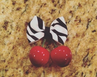 Cherry hair clip with small zebra bow rockabilly pin up