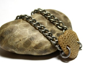 Beach Stone Bracelet River Rock Jewelry Lake Michigan Fossil Beach Pebble Bracelet River Stone Natural Stone Rustic Jewelry Silver Fossil