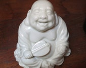 Laughing Buddha Small White Ceramic JAPAN