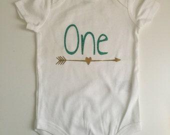 One first birthday arrow shirt