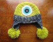 Monster Hat, One eyed monster, Crochet Monster Hat, Halloween Monster, Baby Monster Hat, Newborn Monster Photo Prop, Monster Costume