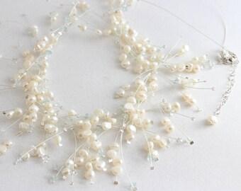 Delicate Pearl Layered Bib Necklace, White, Bib Necklace, Pearl Branch Necklace, Aquamarine Gemstone, Multi Strand Branch Choker, Silver
