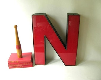 Large Vintage Channel Letter, Red, Letter N