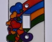 Plastic Vintage Light Switch Plate Cover With Rainbows And Hearts