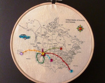 Embroidery Kit Hoop Art Usa Canada Map Fabric Map To Sew On Your