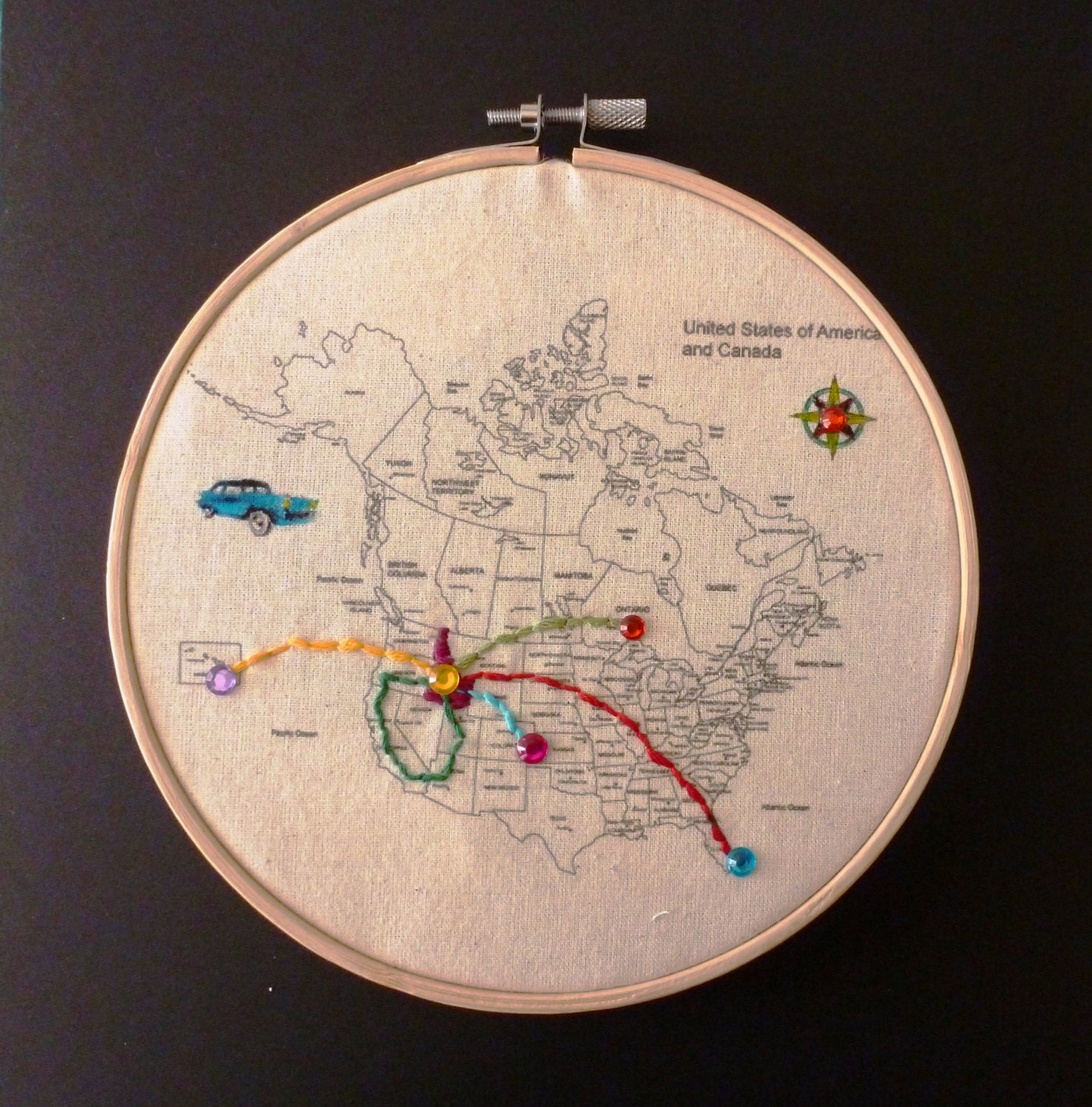 Embroidery kit hoop art usa canada map fabric to sew