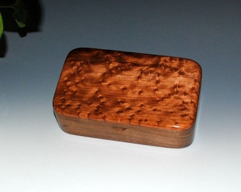 Handmade Wooden Treasure Box Walnut with Redwood Burl -  Wood Stash Box, Keepsake Box, Small Wooden Jewelry Box, Handmade Wood Jewelry Box