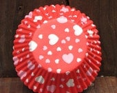 Heart Cupcake Liners, Pink Hearts, 50 Liners, Baking Cups, Cupcake Papers, Valentines, Pink and White, Wilton Liners, Muffin Liners, White