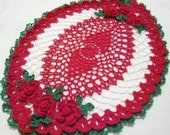 Christmas holiday oval crocheted doily