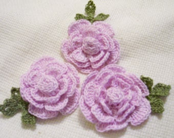 3 roses flowers light purple appliques scrapbooking sewn on home decor handmade embellishments
