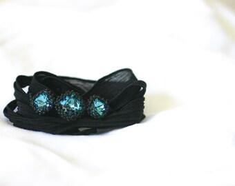 Black Silk Chiffon Ribbon and Triple Swarovski Crystal Bracelet