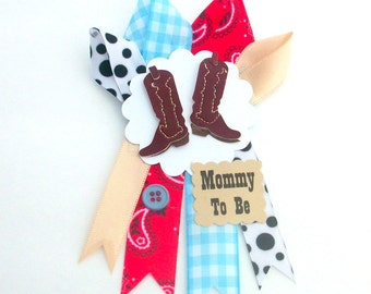 Small Cowboy Boots Western Baby Shower Corsage  - Mommy To Be Badge Pin Mum - Made To Order