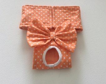 Female Dog Diaper - Panties - Britches - Tangerine/Orange with white Polka Dots - XXS - Large