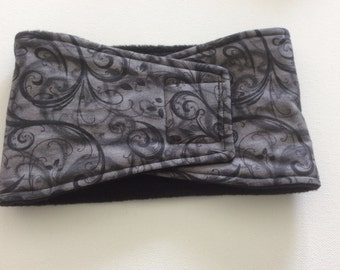 Male Dog Diaper - Belly Band - Belly Wrap - Black and Gray Feathery Scrolls - Availabie in all Sizes