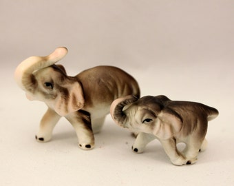Miniature Elephant Porcelain Figurines Mom and Baby