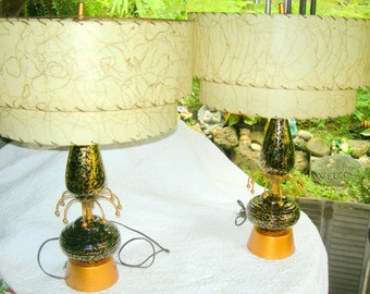 Pair of 1950's Retro Vintage Atomic Lamps with Tiered Shades-Work Great