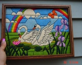 Vintage Framed Embroidered Rainbow and Swan Picture - J.C.Penney 1981 - Sweet