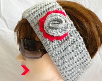 Headband Earwarmer with Flower, Warm Headbaand, Adult Earwarmer