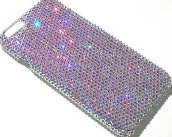 """For iPhone 6 Plus (5.5"""") - Small 12ss Iridescent Crystal AB Rhinestone BLING Back Case handmade with 100% Crystals from Swarovski"""