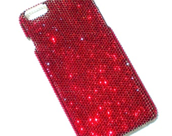 """For iPhone 6 Plus 5.5"""" ~ Tiny 9ss Deep Blood Dark Red Siam Crystals from Swarovski Diamond Rhinestone BLING Back Case"""
