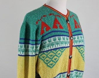 Vintage 80s Womens Tribal Navajo Southwest Cotton Cardigan Sweater