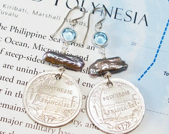 French Polynesia, Authentic Coin Earrings -- Exotic Paradise -- Beach Vacation - Tropical Island - Oceana