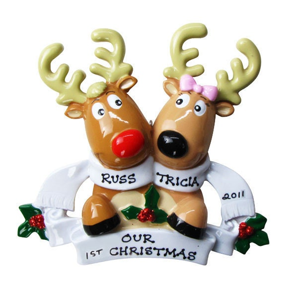 Personalized christmas reindeer couple family ornaments for Personalised christmas decorations