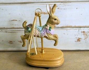 Breckenridge Bunny Rabbit Carousel Figurine Music Box - Easter Parade - 1993