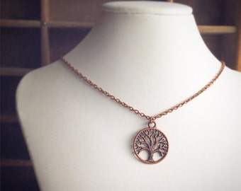 Antique Copper Tree of Life Necklace / Pick your Length / Fall Hippie Bohemian Jewelry / Tree Lover Boho / Renaissance Festival