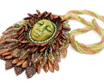 Green and Bronze Necklace Adaptable Brooch Combo Autumn Colors