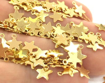 100 Gold Star Charms (8 mm)  Gold Plated Brass G3789