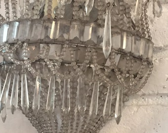 Set of 2 old Antique electrical Crystal Sconces ,vintage beaded sconces,beaded bulb covers,vintage beaded wall sconces