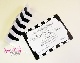 Custom Black and White Stripes inspired by The Greenbrier Resort picture Save the Date Card