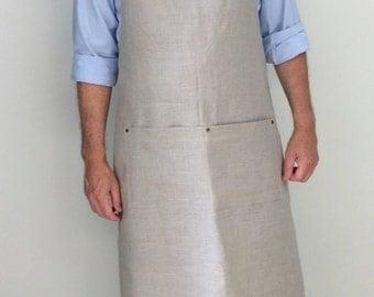 Full Apron Man Linen apron Rustic Apron Long Linen Apron Professional apron Custom made