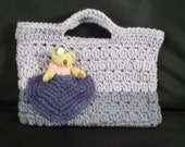 Hand Crocheted Cotton -Heart Pocket Purse with Teddy Bear - Shades of Purple