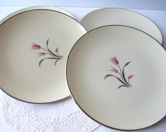 Vintage Franciscan Carmel Pink Platinum Tulip Salad Plates Set of Four
