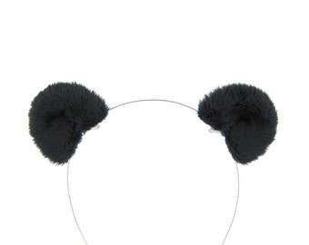 Panda Bear Ears Black Bear Hair Clips Fluffy Plush Bear Costume Ears
