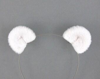 Polar Bear Ears Hair Clips White Bear Costume Accessory