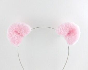 Bear Ears Hair Clips Pink Bear Costume Accessory