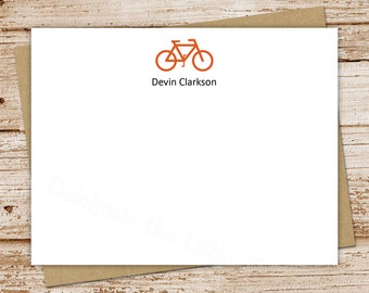 bicycle note cards, notecards - set of 12 - flat personalized stationery - bike silhouette - choose font & color