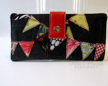 Handmade womens wallet - Denim wallet with banners - red with white dots - ID clear pocket - Ready to ship