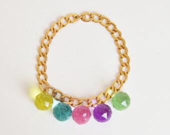 Vintage 70s 80s Escada ACRYLIC Orb Charm Chain Necklace