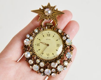 Vintage 50s 60s Gold Rhinestone Florenza Pendant Watch Pin AS IS