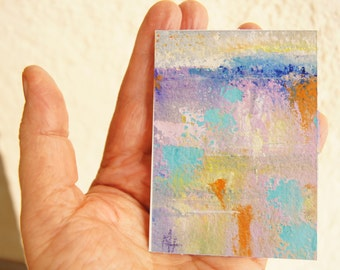 "Original ACEO painting - Miniature art trading card, original ATC, 2.5 x 3.5"" - Namibia Impression 6 gouache abstract landscape, fundraising"