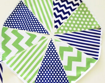 Bunting, Banner, Fabric Pennant Flags, Green, Navy Blue, Polka Dot, Chevron, Stripe, Boy Baby Shower, Birthday Garland, Photo Prop, Wedding